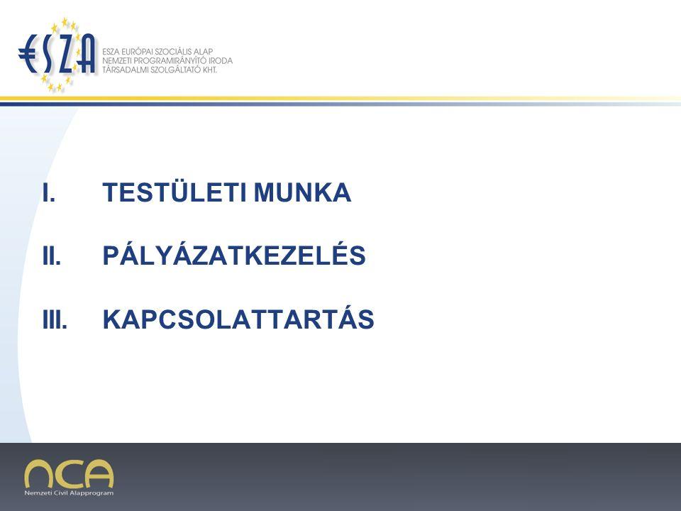 2007.02.02.2 I.TESTÜLETI MUNKA II.PÁLYÁZATKEZELÉS III.KAPCSOLATTARTÁS