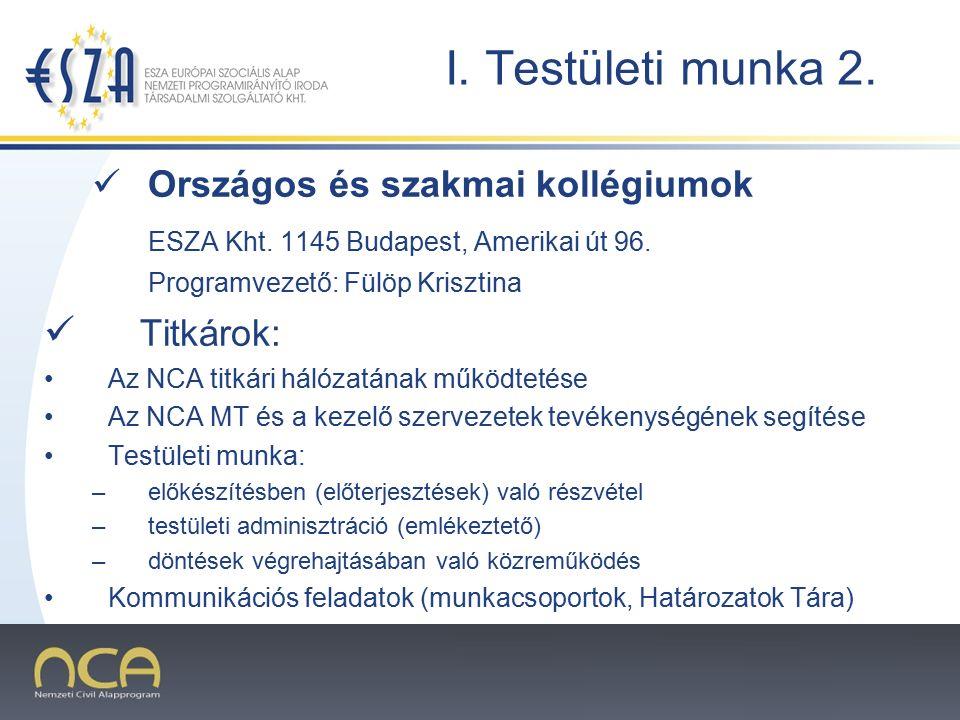2007.02.02.4 I. Testületi munka 2. Országos és szakmai kollégiumok ESZA Kht.