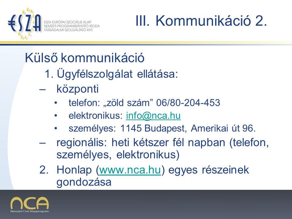 2007.02.02.8 III. Kommunikáció 2. Külső kommunikáció 1.
