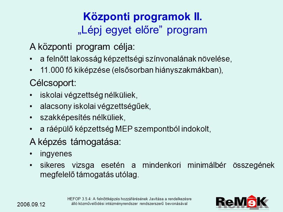 2006.09.12 HEFOP 3.5.4: A felnőttképzés hozzáférésének Javítása a rendelkezésre álló közművelődési intézményrendszer rendszerszerű bevonásával A központi program célja: felkészítés a képzési programban való részvételre, a szakképzés megkezdéséhez szükséges felzárkóztató képzés biztosítása, keresett szakképzettség, szakmai ismeret megszerzésének biztosítása, digitális alapműveltség biztosítása, mentális állapotának javítása, a munkaerő-piaci érvényesülést segítő ismeretek átadása, elhelyezkedésük támogatása.