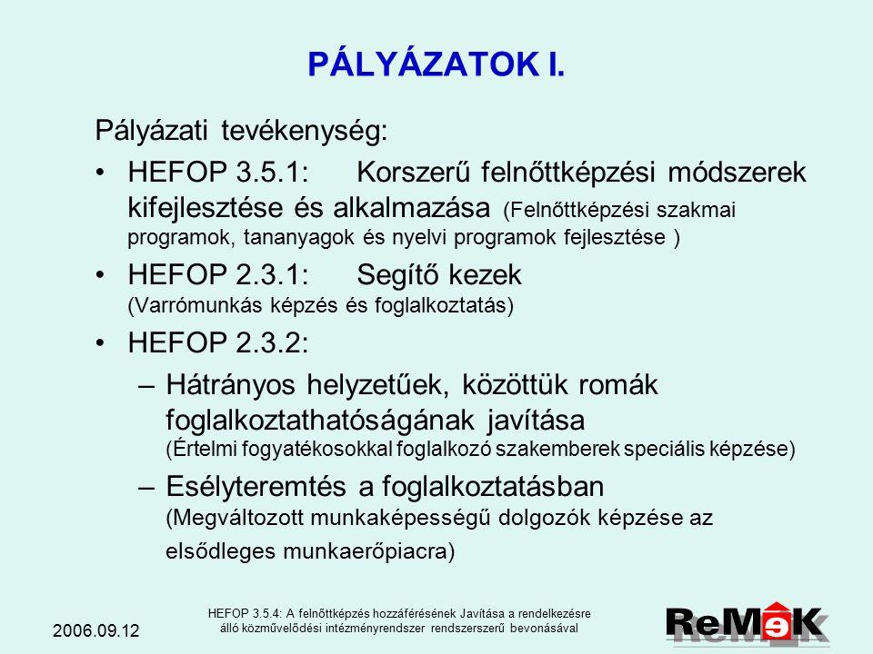 2006.09.12 HEFOP 3.5.4: A felnőttképzés hozzáférésének Javítása a rendelkezésre álló közművelődési intézményrendszer rendszerszerű bevonásával A közpo