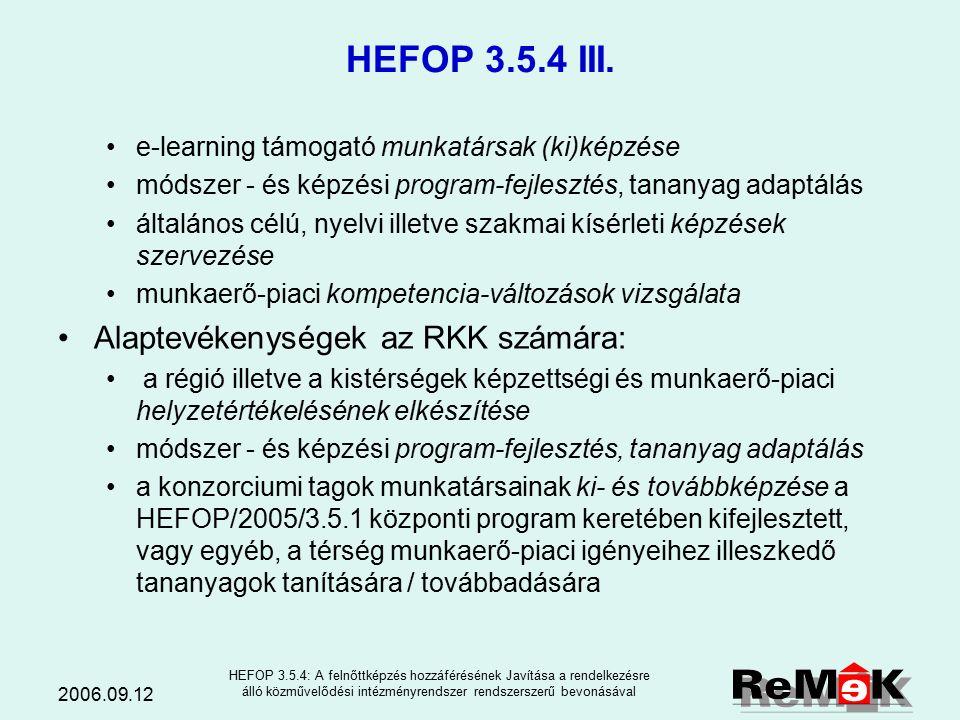 2006.09.12 HEFOP 3.5.4: A felnőttképzés hozzáférésének Javítása a rendelkezésre álló közművelődési intézményrendszer rendszerszerű bevonásával HEFOP 3.5.4 II.