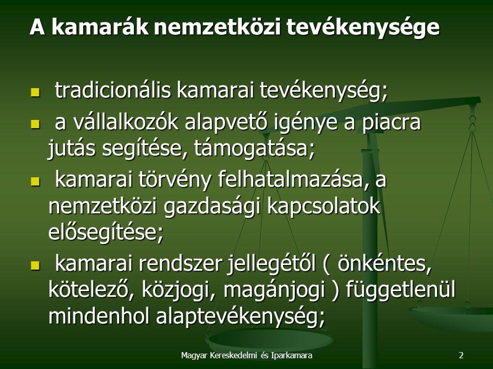 Magyar Kereskedelmi és Iparkamara2 A kamarák nemzetközi tevékenysége tradicionális kamarai tevékenység; tradicionális kamarai tevékenység; a vállalkozók alapvető igénye a piacra jutás segítése, támogatása; a vállalkozók alapvető igénye a piacra jutás segítése, támogatása; kamarai törvény felhatalmazása, a nemzetközi gazdasági kapcsolatok elősegítése; kamarai törvény felhatalmazása, a nemzetközi gazdasági kapcsolatok elősegítése; kamarai rendszer jellegétől ( önkéntes, kötelező, közjogi, magánjogi ) függetlenül mindenhol alaptevékenység; kamarai rendszer jellegétől ( önkéntes, kötelező, közjogi, magánjogi ) függetlenül mindenhol alaptevékenység;