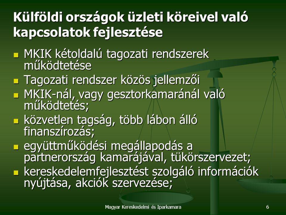 Magyar Kereskedelmi és Iparkamara6 Külföldi országok üzleti köreivel való kapcsolatok fejlesztése MKIK kétoldalú tagozati rendszerek működtetése MKIK kétoldalú tagozati rendszerek működtetése Tagozati rendszer közös jellemzői Tagozati rendszer közös jellemzői MKIK-nál, vagy gesztorkamaránál való működtetés; MKIK-nál, vagy gesztorkamaránál való működtetés; közvetlen tagság, több lábon álló finanszírozás; közvetlen tagság, több lábon álló finanszírozás; együttműködési megállapodás a partnerország kamarájával, tükörszervezet; együttműködési megállapodás a partnerország kamarájával, tükörszervezet; kereskedelemfejlesztést szolgáló információk nyújtása, akciók szervezése; kereskedelemfejlesztést szolgáló információk nyújtása, akciók szervezése;