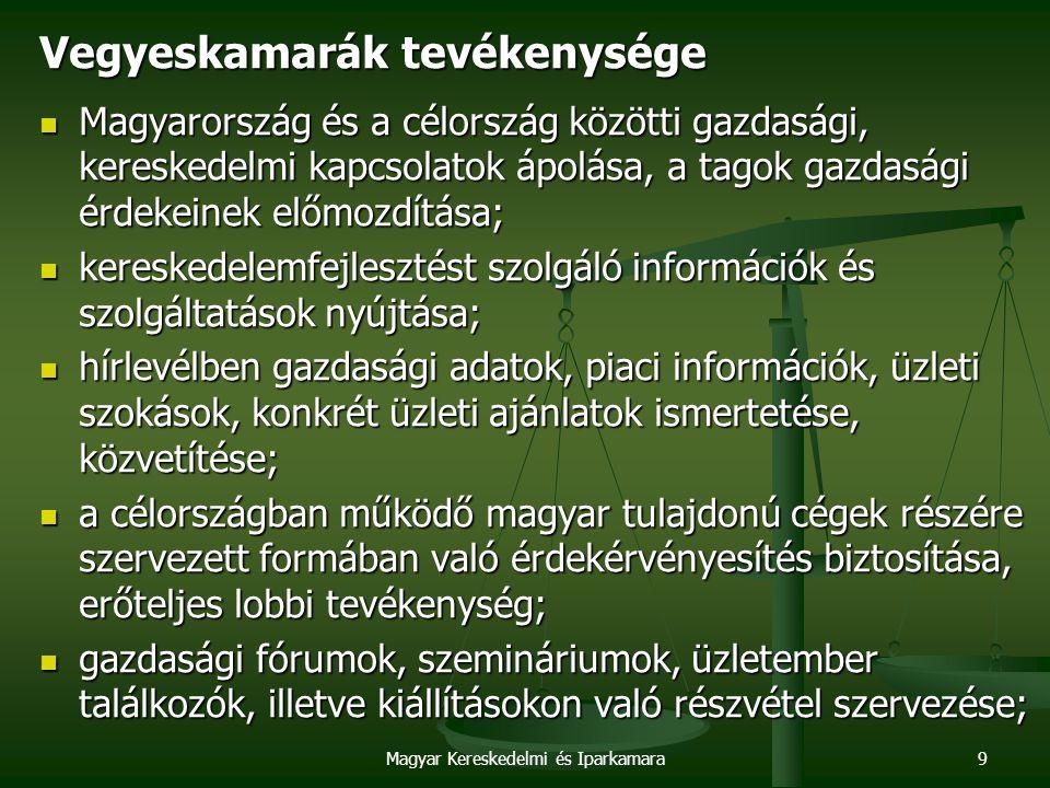 Magyar Kereskedelmi és Iparkamara9 Vegyeskamarák tevékenysége Magyarország és a célország közötti gazdasági, kereskedelmi kapcsolatok ápolása, a tagok gazdasági érdekeinek előmozdítása; Magyarország és a célország közötti gazdasági, kereskedelmi kapcsolatok ápolása, a tagok gazdasági érdekeinek előmozdítása; kereskedelemfejlesztést szolgáló információk és szolgáltatások nyújtása; kereskedelemfejlesztést szolgáló információk és szolgáltatások nyújtása; hírlevélben gazdasági adatok, piaci információk, üzleti szokások, konkrét üzleti ajánlatok ismertetése, közvetítése; hírlevélben gazdasági adatok, piaci információk, üzleti szokások, konkrét üzleti ajánlatok ismertetése, közvetítése; a célországban működő magyar tulajdonú cégek részére szervezett formában való érdekérvényesítés biztosítása, erőteljes lobbi tevékenység; a célországban működő magyar tulajdonú cégek részére szervezett formában való érdekérvényesítés biztosítása, erőteljes lobbi tevékenység; gazdasági fórumok, szemináriumok, üzletember találkozók, illetve kiállításokon való részvétel szervezése; gazdasági fórumok, szemináriumok, üzletember találkozók, illetve kiállításokon való részvétel szervezése;