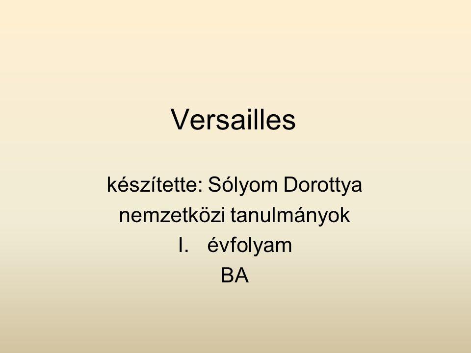Versailles készítette: Sólyom Dorottya nemzetközi tanulmányok I.évfolyam BA