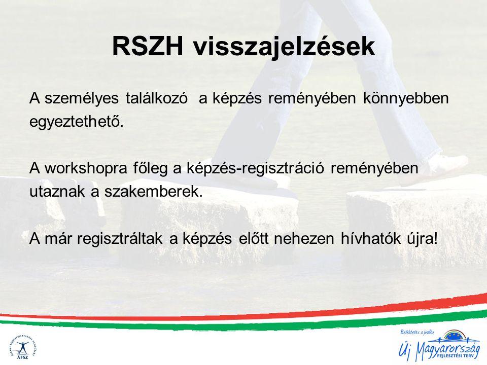 RSZH visszajelzések A személyes találkozó a képzés reményében könnyebben egyeztethető.