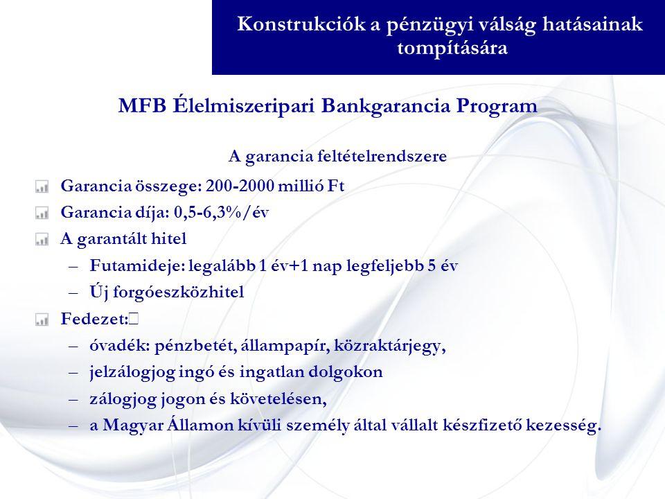 A garancia feltételrendszere Garancia összege: 200-2000 millió Ft Garancia díja: 0,5-6,3%/év A garantált hitel –Futamideje: legalább 1 év+1 nap legfeljebb 5 év –Új forgóeszközhitel Fedezet:  –óvadék: pénzbetét, állampapír, közraktárjegy, –jelzálogjog ingó és ingatlan dolgokon –zálogjog jogon és követelésen, –a Magyar Államon kívüli személy által vállalt készfizető kezesség.