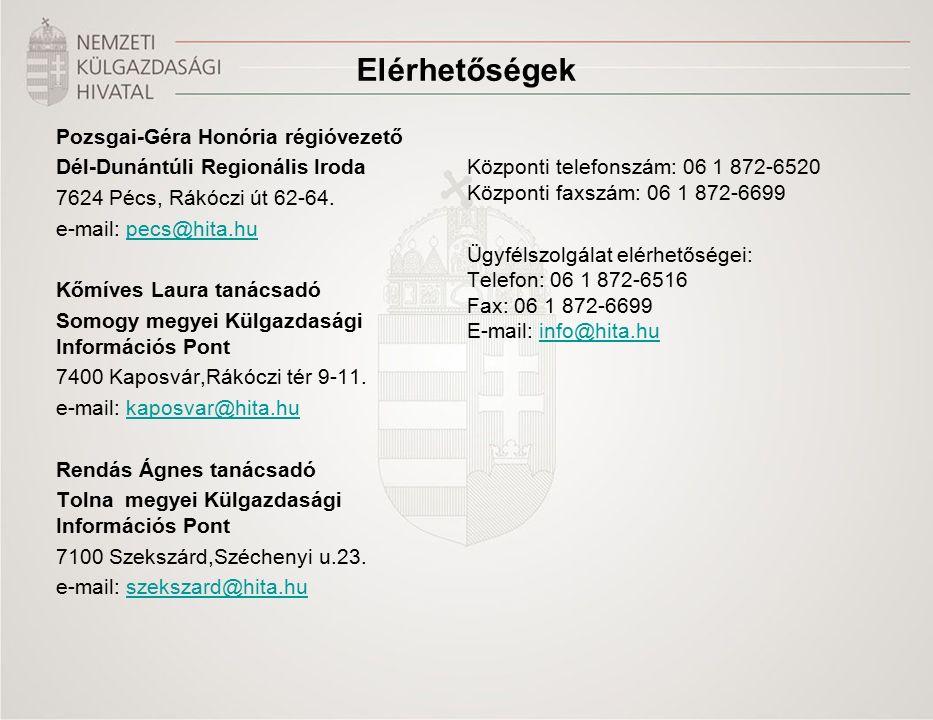 Elérhetőségek Pozsgai-Géra Honória régióvezető Dél-Dunántúli Regionális Iroda 7624 Pécs, Rákóczi út 62-64.