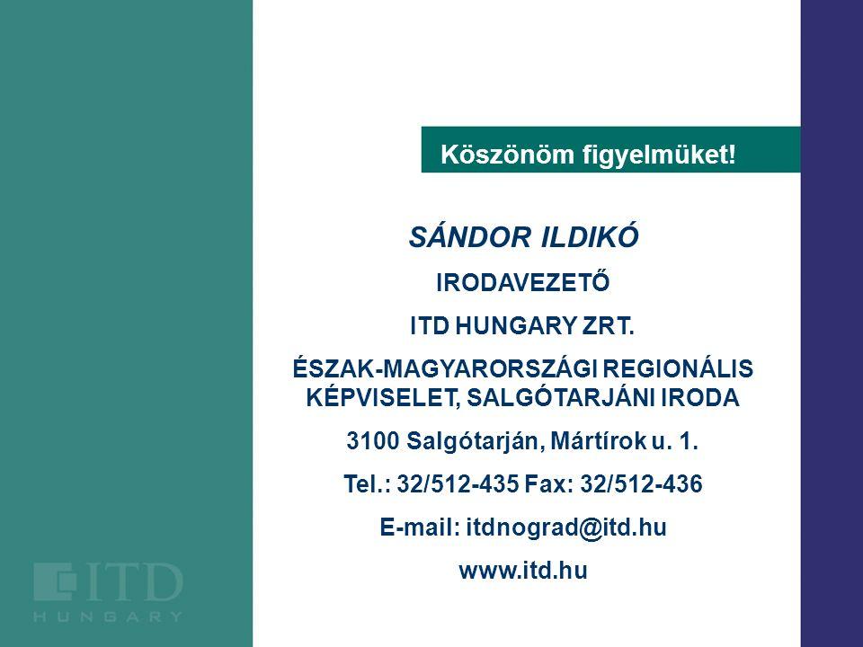 SÁNDOR ILDIKÓ IRODAVEZETŐ ITD HUNGARY ZRT. ÉSZAK-MAGYARORSZÁGI REGIONÁLIS KÉPVISELET, SALGÓTARJÁNI IRODA 3100 Salgótarján, Mártírok u. 1. Tel.: 32/512