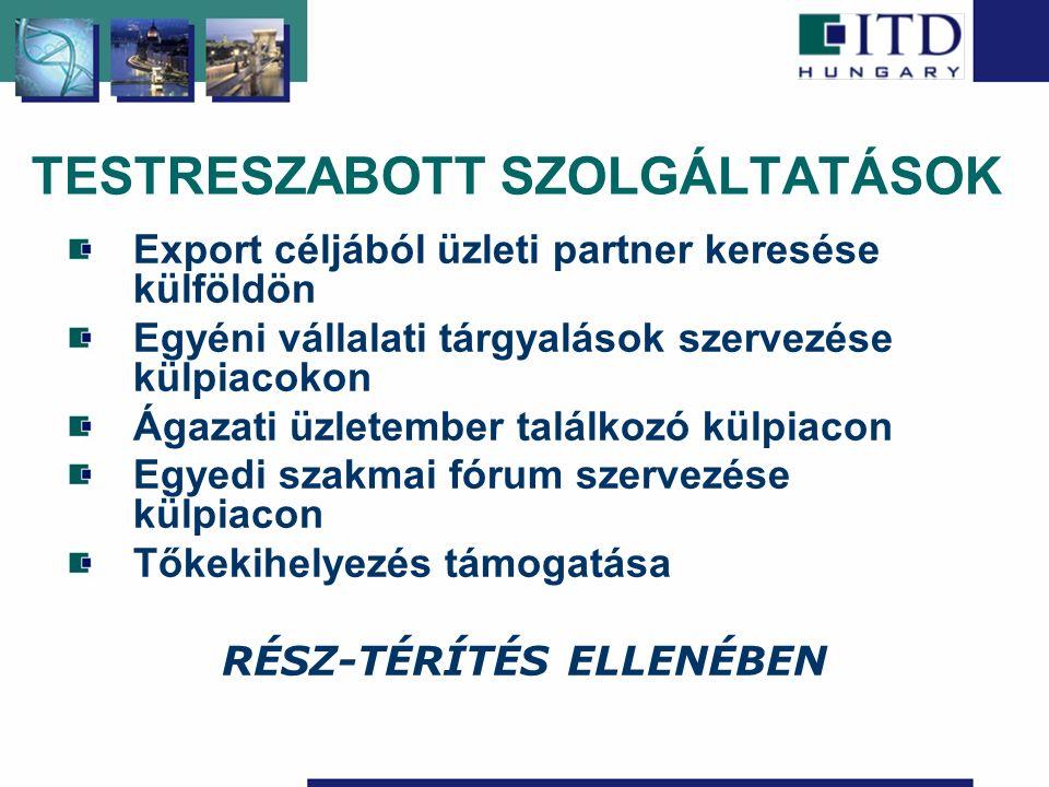 TESTRESZABOTT SZOLGÁLTATÁSOK Export céljából üzleti partner keresése külföldön Egyéni vállalati tárgyalások szervezése külpiacokon Ágazati üzletember találkozó külpiacon Egyedi szakmai fórum szervezése külpiacon Tőkekihelyezés támogatása RÉSZ-TÉRÍTÉS ELLENÉBEN