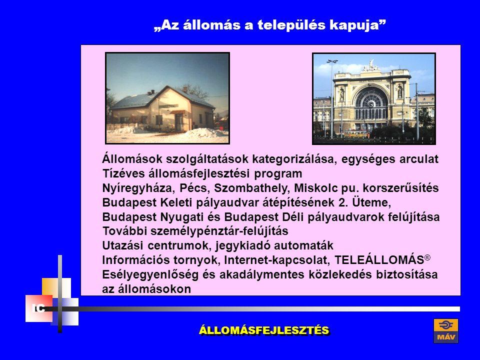 """""""Az állomás a település kapuja Állomások szolgáltatások kategorizálása, egységes arculat Tízéves állomásfejlesztési program Nyíregyháza, Pécs, Szombathely, Miskolc pu."""
