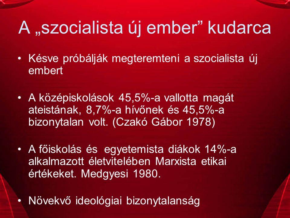 """A """"szocialista új ember kudarca Késve próbálják megteremteni a szocialista új embert A középiskolások 45,5%-a vallotta magát ateistának, 8,7%-a hívőnek és 45,5%-a bizonytalan volt."""