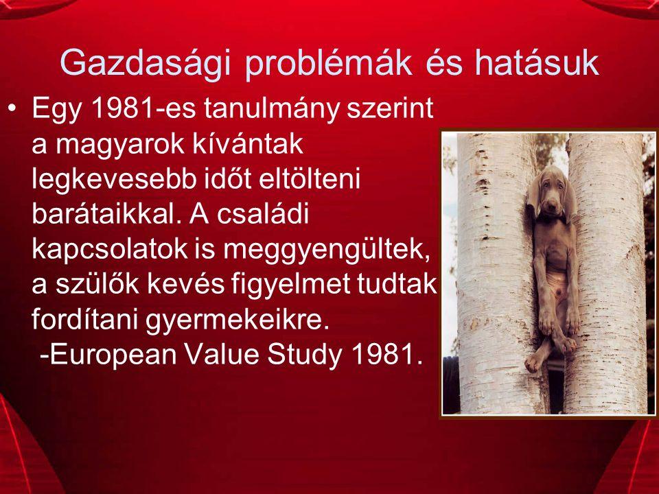 Gazdasági problémák és hatásuk Egy 1981-es tanulmány szerint a magyarok kívántak legkevesebb időt eltölteni barátaikkal.