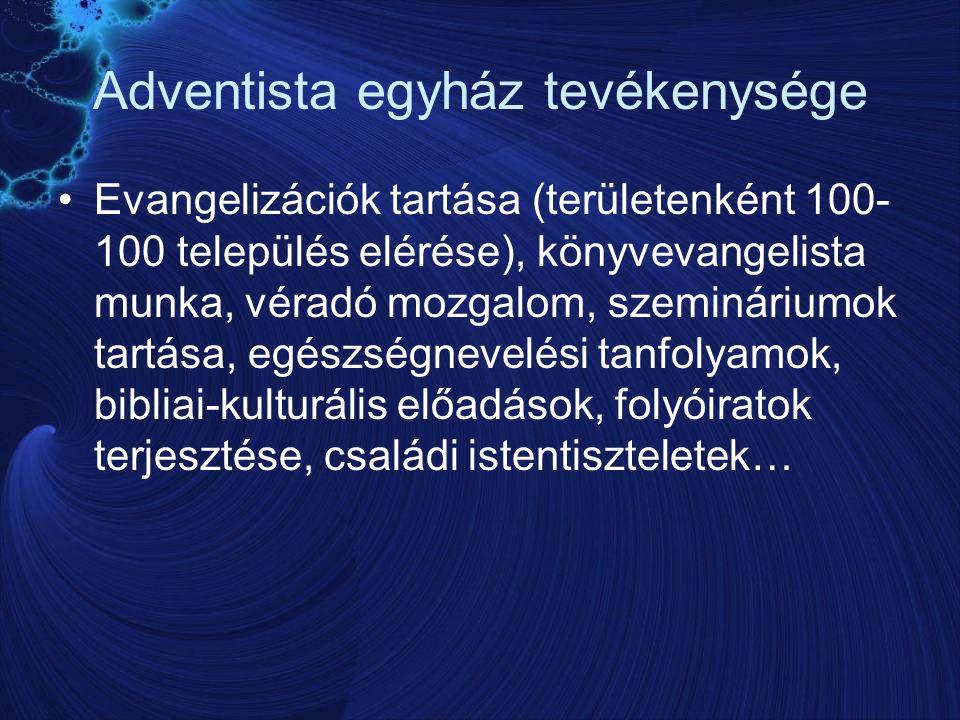 Adventista egyház tevékenysége Evangelizációk tartása (területenként 100- 100 település elérése), könyvevangelista munka, véradó mozgalom, szemináriumok tartása, egészségnevelési tanfolyamok, bibliai-kulturális előadások, folyóiratok terjesztése, családi istentiszteletek…