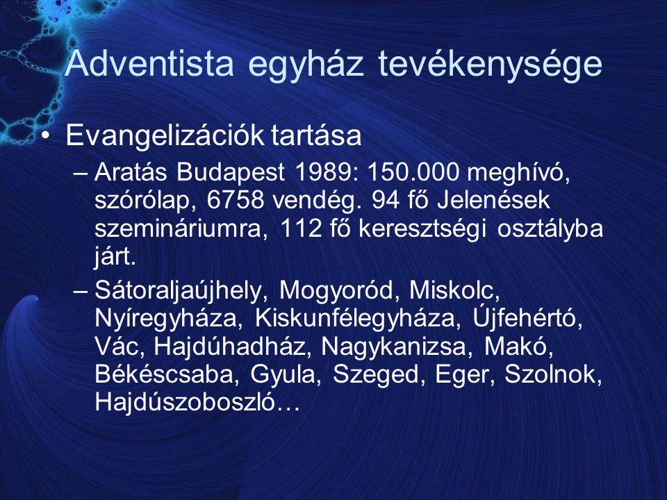 Adventista egyház tevékenysége Evangelizációk tartása –Aratás Budapest 1989: 150.000 meghívó, szórólap, 6758 vendég.