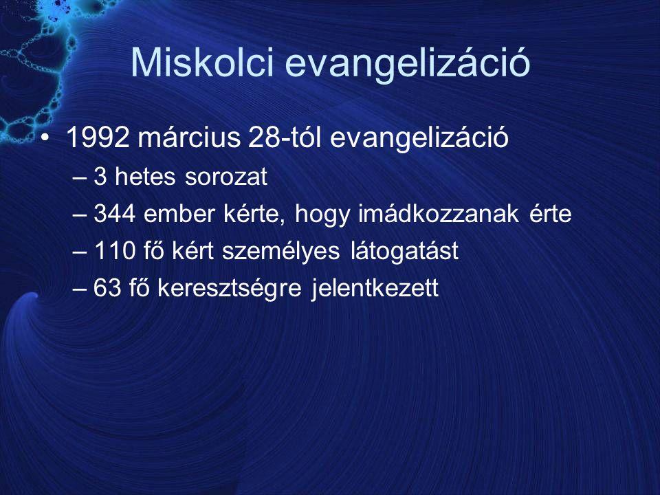 Miskolci evangelizáció 1992 március 28-tól evangelizáció –3 hetes sorozat –344 ember kérte, hogy imádkozzanak érte –110 fő kért személyes látogatást –63 fő keresztségre jelentkezett