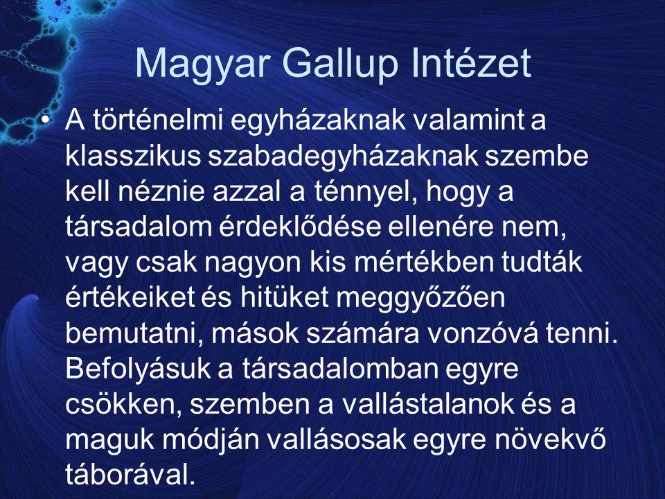 Magyar Gallup Intézet A történelmi egyházaknak valamint a klasszikus szabadegyházaknak szembe kell néznie azzal a ténnyel, hogy a társadalom érdeklődése ellenére nem, vagy csak nagyon kis mértékben tudták értékeiket és hitüket meggyőzően bemutatni, mások számára vonzóvá tenni.