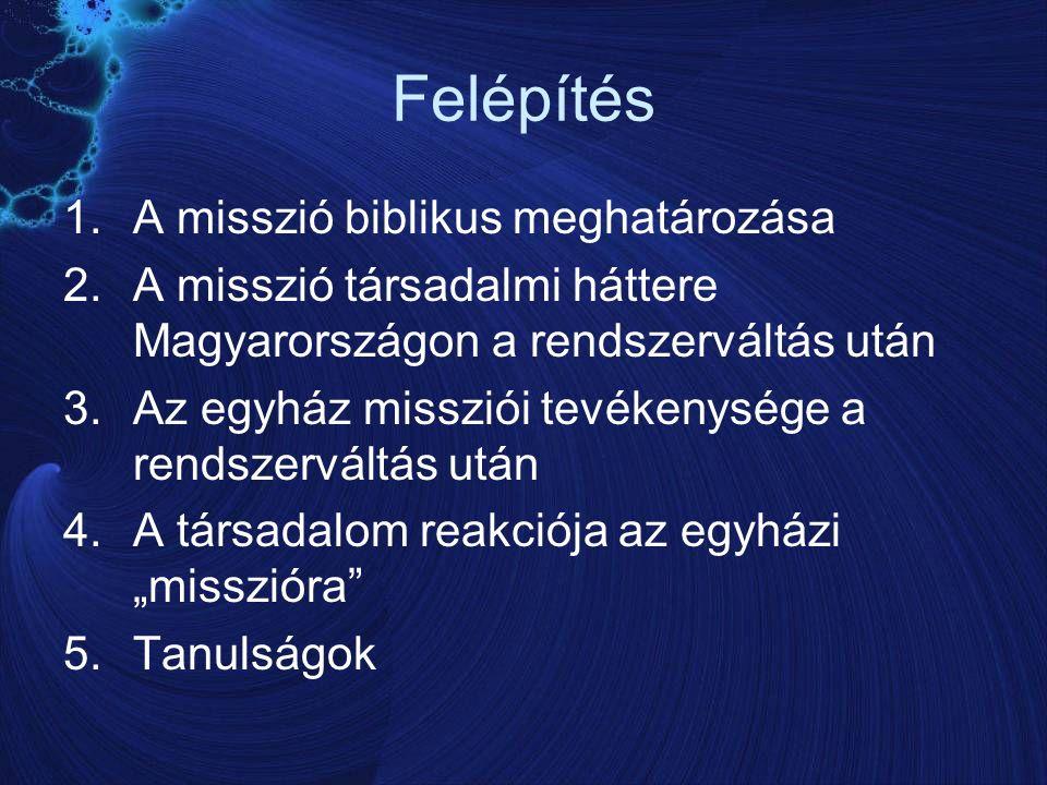 """Felépítés 1.A misszió biblikus meghatározása 2.A misszió társadalmi háttere Magyarországon a rendszerváltás után 3.Az egyház missziói tevékenysége a rendszerváltás után 4.A társadalom reakciója az egyházi """"misszióra 5.Tanulságok"""