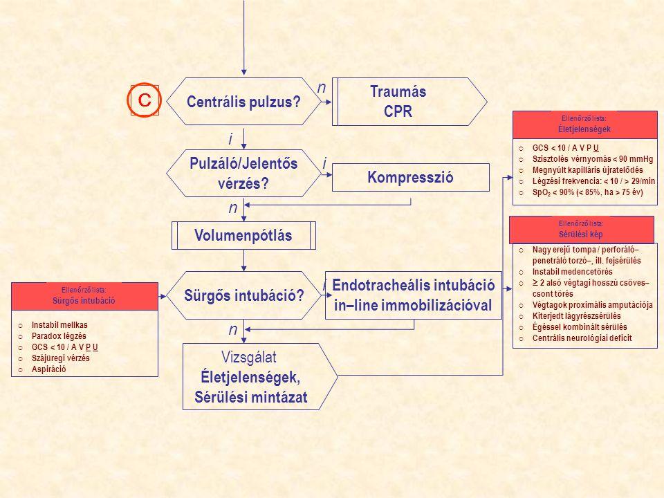 Pulzáló/Jelentős vérzés? Kompresszió Centrális pulzus? Traumás CPR Volumenpótlás C Endotracheális intubáció in–line immobilizációval Sürgős intubáció?