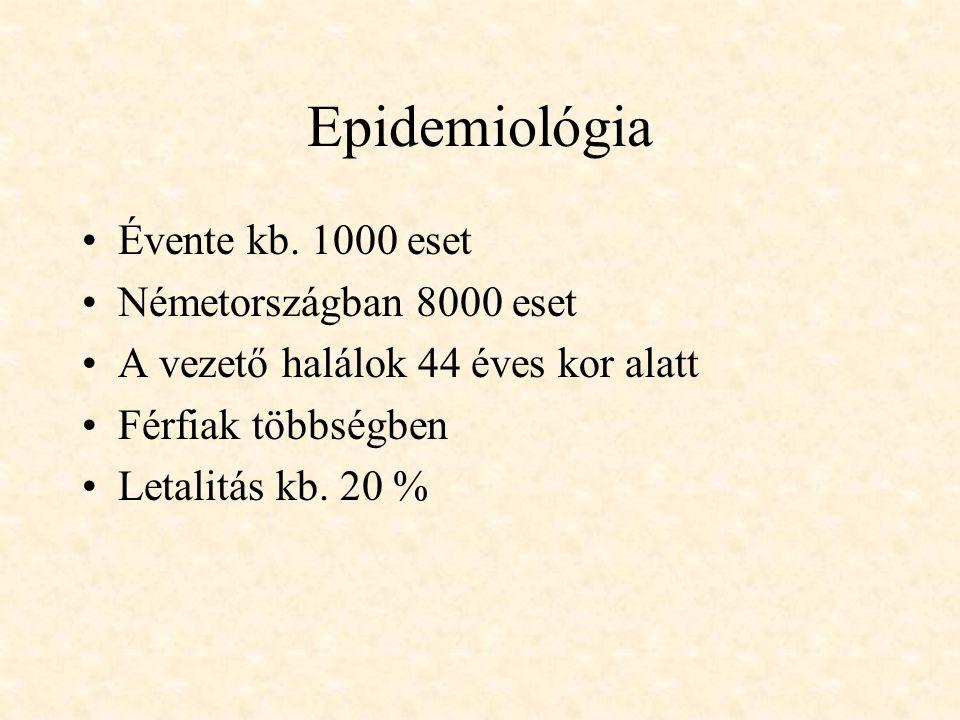 Epidemiológia Évente kb. 1000 eset Németországban 8000 eset A vezető halálok 44 éves kor alatt Férfiak többségben Letalitás kb. 20 %