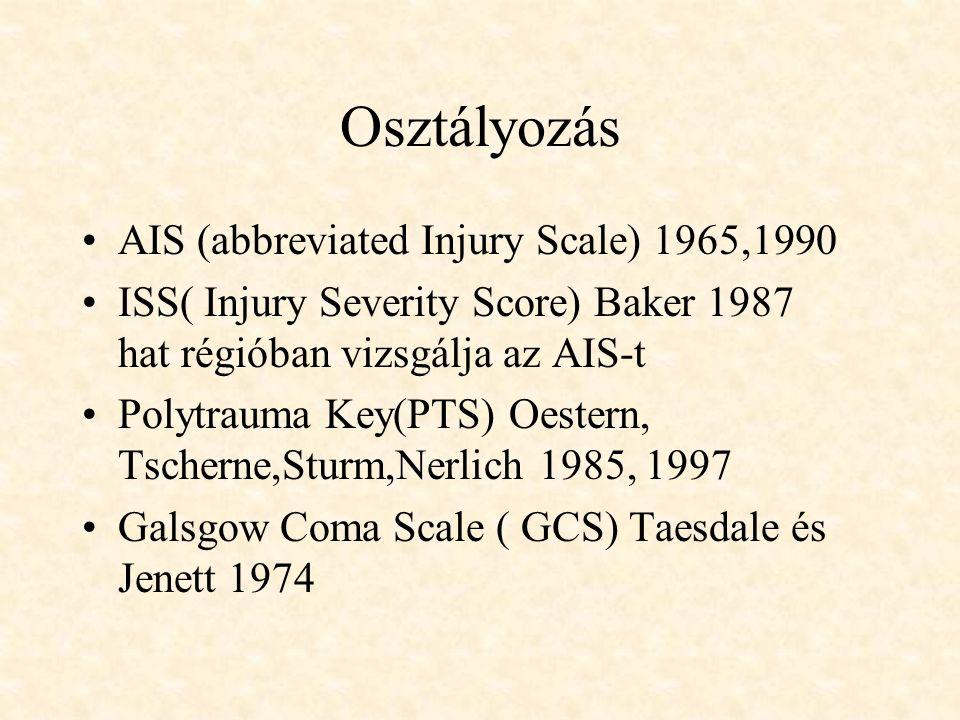 Osztályozás AIS (abbreviated Injury Scale) 1965,1990 ISS( Injury Severity Score) Baker 1987 hat régióban vizsgálja az AIS-t Polytrauma Key(PTS) Oester