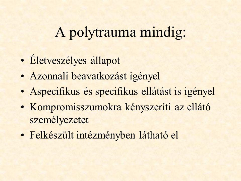 A polytrauma mindig: Életveszélyes állapot Azonnali beavatkozást igényel Aspecifikus és specifikus ellátást is igényel Kompromisszumokra kényszeríti a
