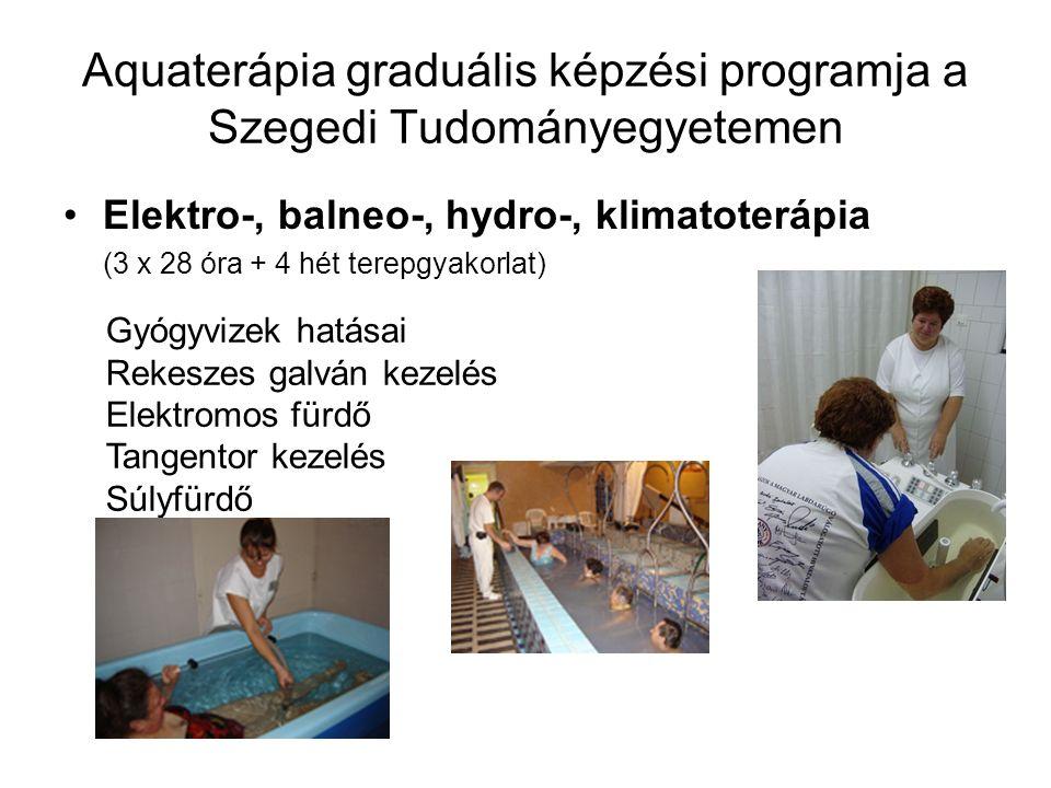 Aquaterápia graduális képzési programja a Szegedi Tudományegyetemen Elektro-, balneo-, hydro-, klimatoterápia (3 x 28 óra + 4 hét terepgyakorlat) Gyóg