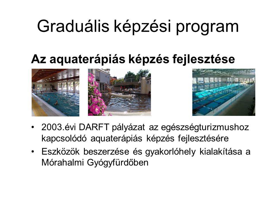 Graduális képzési program Az aquaterápiás képzés fejlesztése 2003.évi DARFT pályázat az egészségturizmushoz kapcsolódó aquaterápiás képzés fejlesztésé