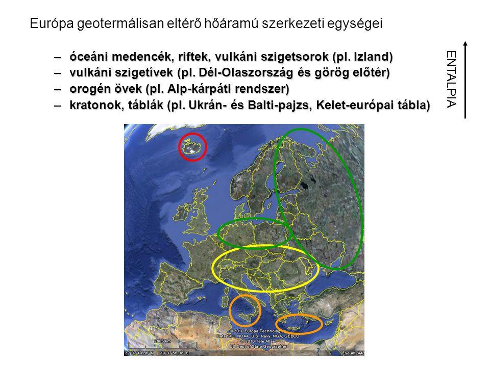 Európa geotermálisan eltérő hőáramú szerkezeti egységei –óceáni medencék, riftek, vulkáni szigetsorok (pl. Izland) –vulkáni szigetívek (pl. Dél-Olaszo