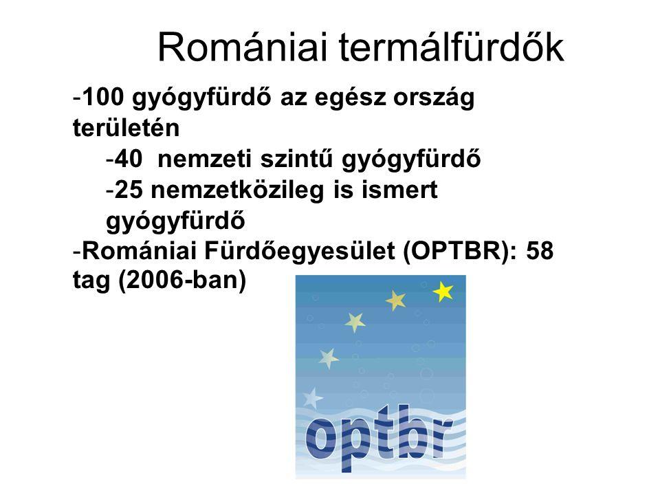 Romániai termálfürdők -100 gyógyfürdő az egész ország területén -40 nemzeti szintű gyógyfürdő -25 nemzetközileg is ismert gyógyfürdő -Romániai Fürdőeg