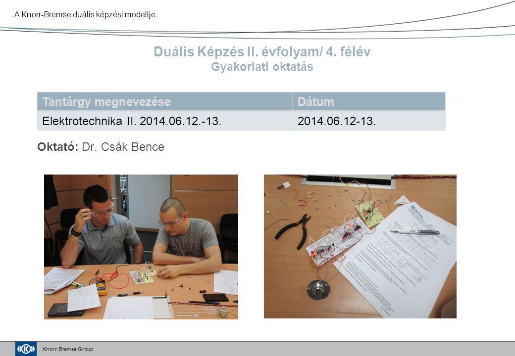 Knorr-Bremse Group Duális Képzés II. évfolyam/ 4.