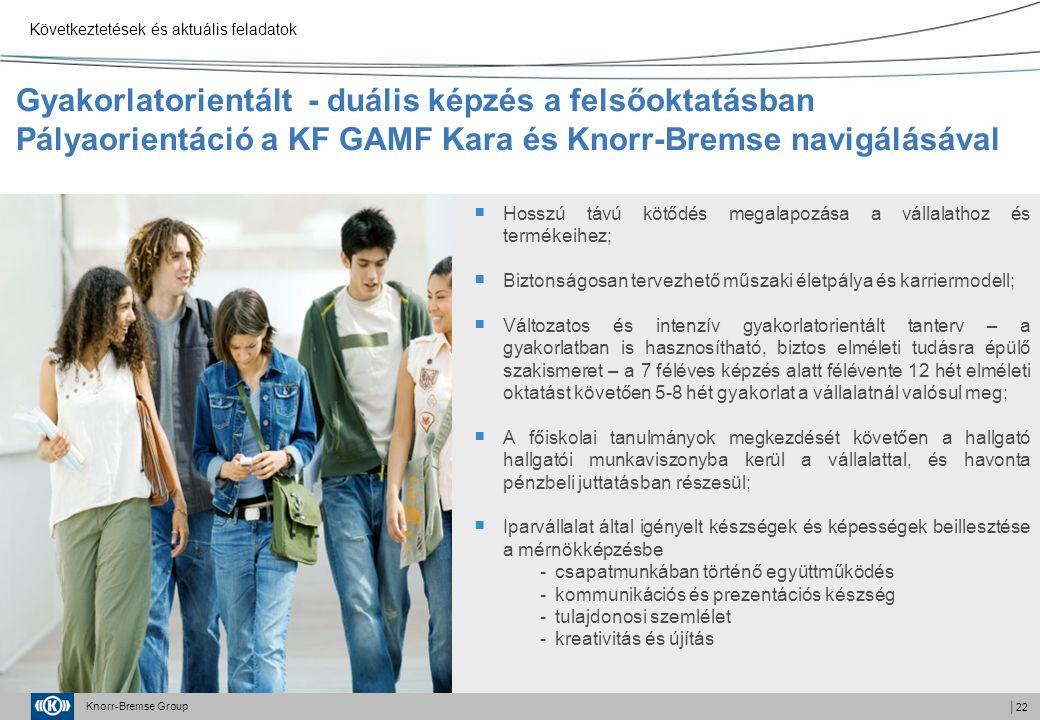 Knorr-Bremse Group │22 Gyakorlatorientált - duális képzés a felsőoktatásban Pályaorientáció a KF GAMF Kara és Knorr-Bremse navigálásával  Hosszú távú kötődés megalapozása a vállalathoz és termékeihez;  Biztonságosan tervezhető műszaki életpálya és karriermodell;  Változatos és intenzív gyakorlatorientált tanterv – a gyakorlatban is hasznosítható, biztos elméleti tudásra épülő szakismeret – a 7 féléves képzés alatt félévente 12 hét elméleti oktatást követően 5-8 hét gyakorlat a vállalatnál valósul meg;  A főiskolai tanulmányok megkezdését követően a hallgató hallgatói munkaviszonyba kerül a vállalattal, és havonta pénzbeli juttatásban részesül;  Iparvállalat által igényelt készségek és képességek beillesztése a mérnökképzésbe -csapatmunkában történő együttműködés -kommunikációs és prezentációs készség -tulajdonosi szemlélet -kreativitás és újítás Következtetések és aktuális feladatok