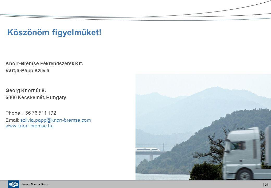 Knorr-Bremse Group │25 Köszönöm figyelmüket. Knorr-Bremse Fékrendszerek Kft.
