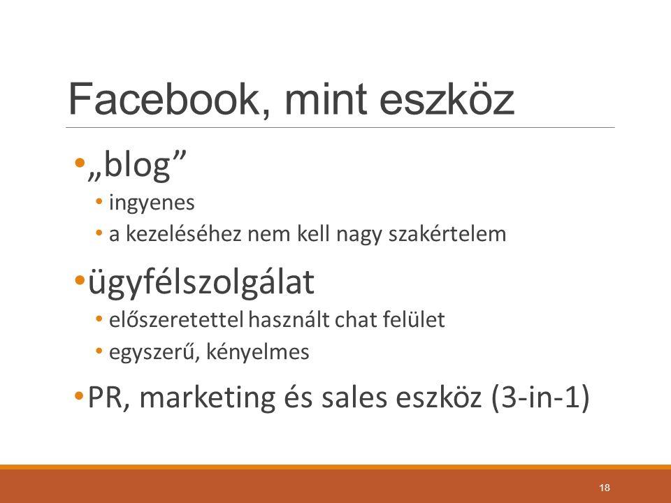 """Facebook, mint eszköz """"blog ingyenes a kezeléséhez nem kell nagy szakértelem ügyfélszolgálat előszeretettel használt chat felület egyszerű, kényelmes PR, marketing és sales eszköz (3-in-1) 18"""