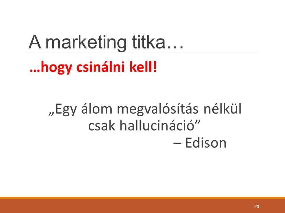 A marketing titka… …hogy csinálni kell.