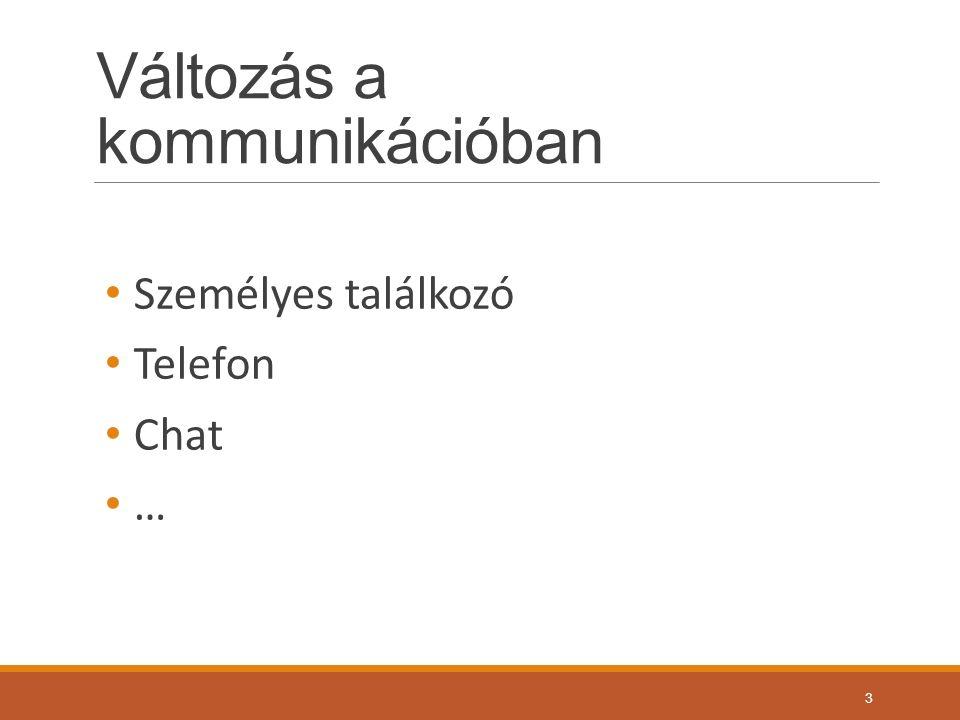 Változás a kommunikációban Személyes találkozó Telefon Chat … 3