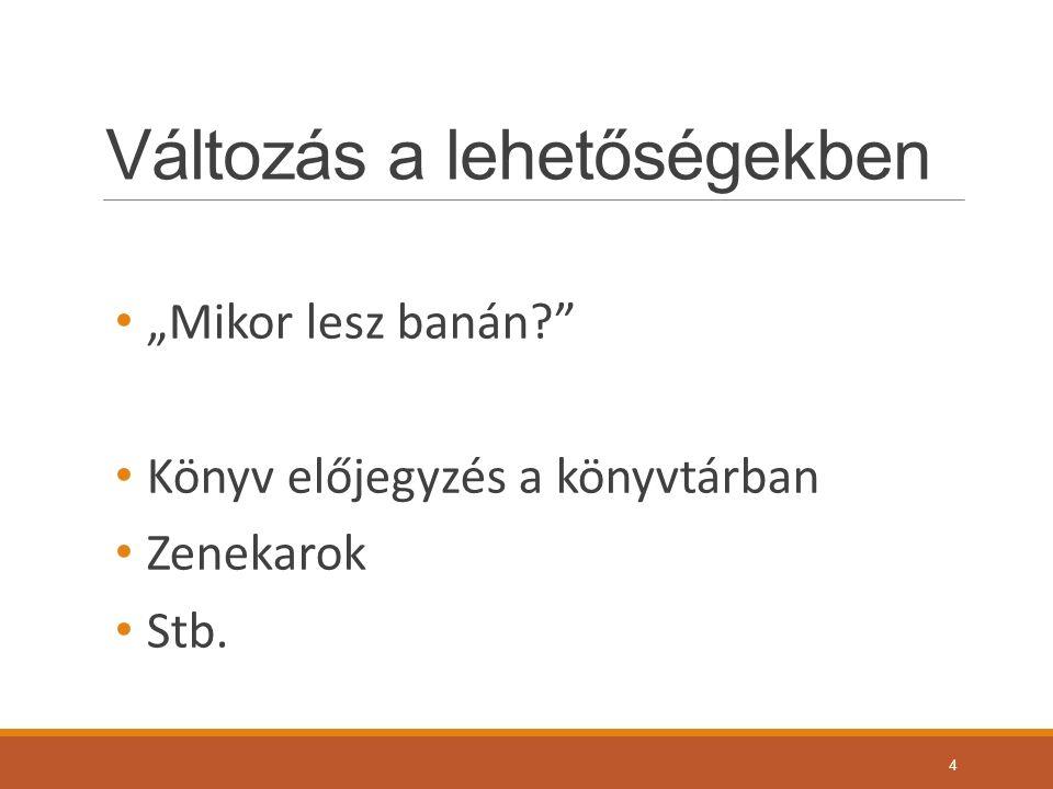 """Változás a lehetőségekben """"Mikor lesz banán? Könyv előjegyzés a könyvtárban Zenekarok Stb. 4"""