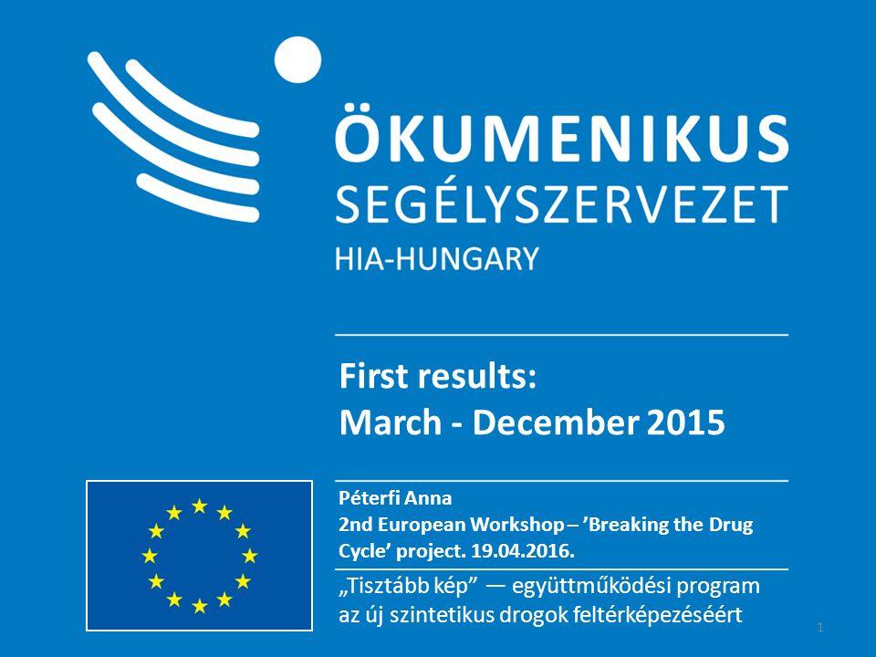 """""""Tisztább kép – együttműködési program Az új szintetikus drogok feltérképezéséért """"Tisztább kép — együttműködési program az új szintetikus drogok feltérképezéséért First results: March - December 2015 Péterfi Anna 2nd European Workshop – 'Breaking the Drug Cycle' project."""