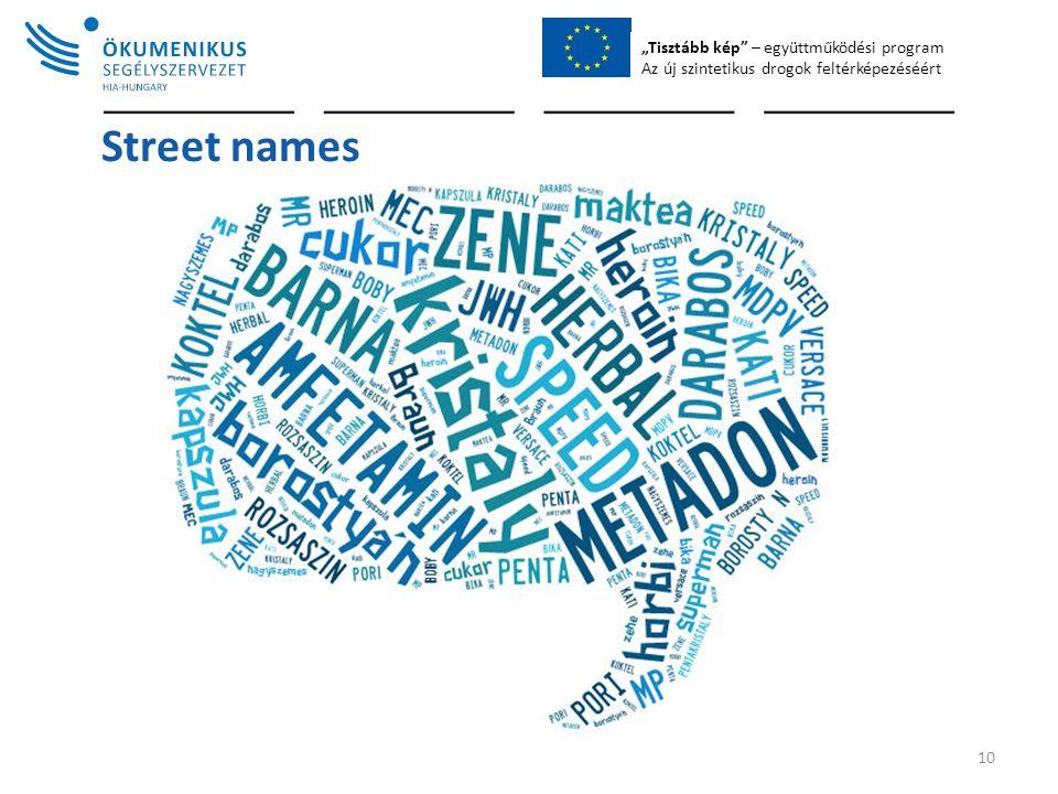 """""""Tisztább kép – együttműködési program Az új szintetikus drogok feltérképezéséért Street names 10"""