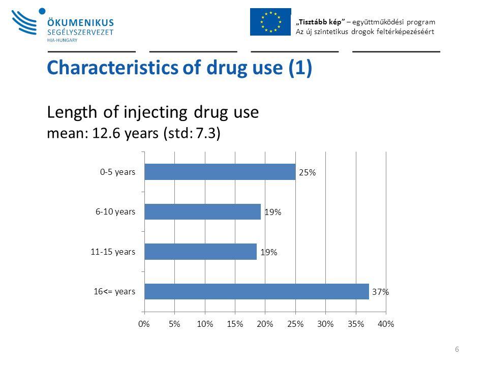 """""""Tisztább kép – együttműködési program Az új szintetikus drogok feltérképezéséért Characteristics of drug use (1) Length of injecting drug use mean: 12.6 years (std: 7.3) 6"""