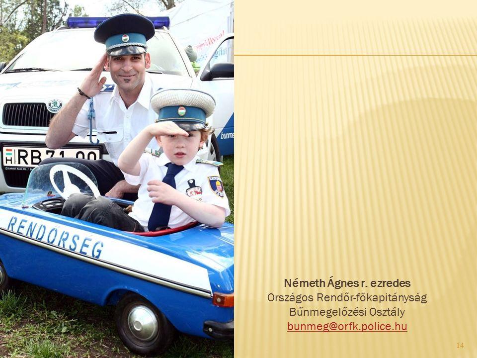 14 Németh Ágnes r. ezredes Országos Rendőr-főkapitányság Bűnmegelőzési Osztály bunmeg@orfk.police.hu