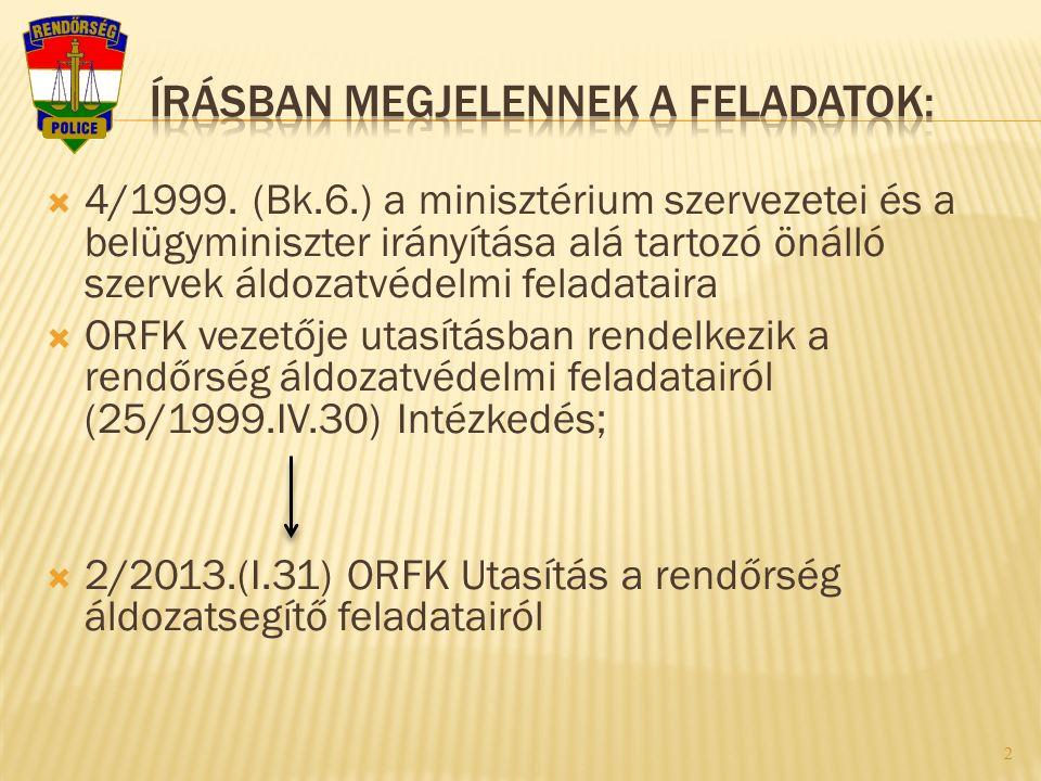  4/1999. (Bk.6.) a minisztérium szervezetei és a belügyminiszter irányítása alá tartozó önálló szervek áldozatvédelmi feladataira  ORFK vezetője uta