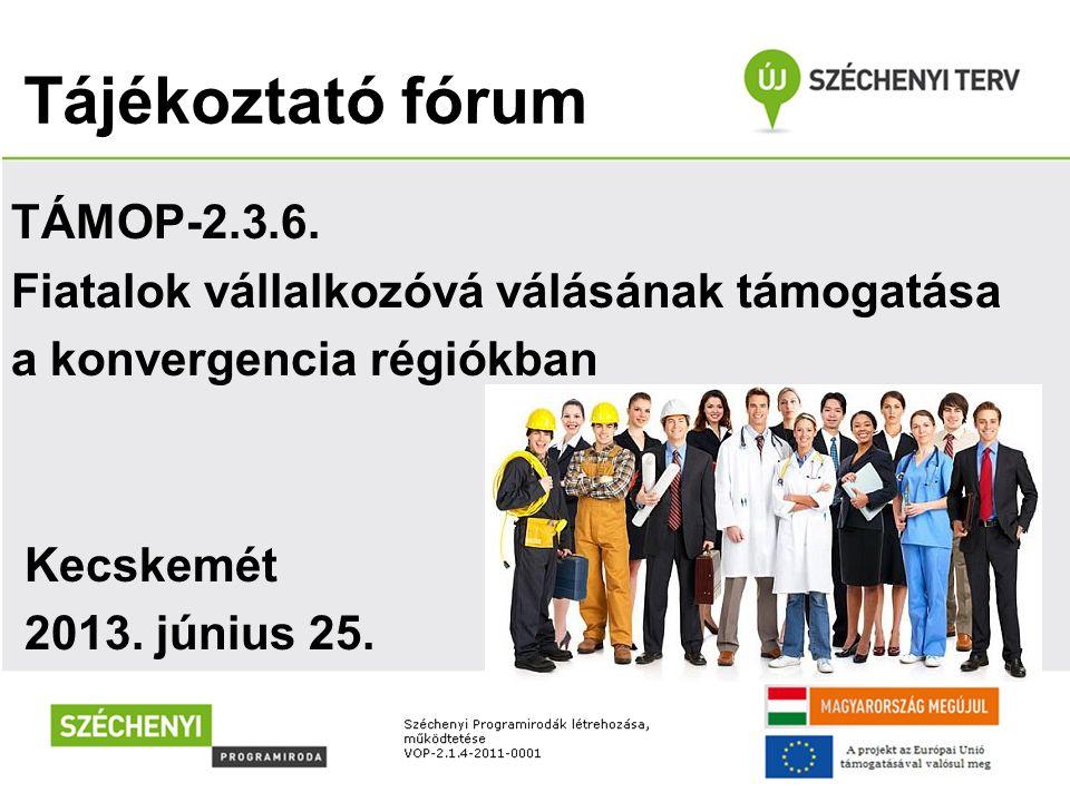 Tájékoztató fórum TÁMOP-2.3.6. Fiatalok vállalkozóvá válásának támogatása a konvergencia régiókban Kecskemét 2013. június 25.
