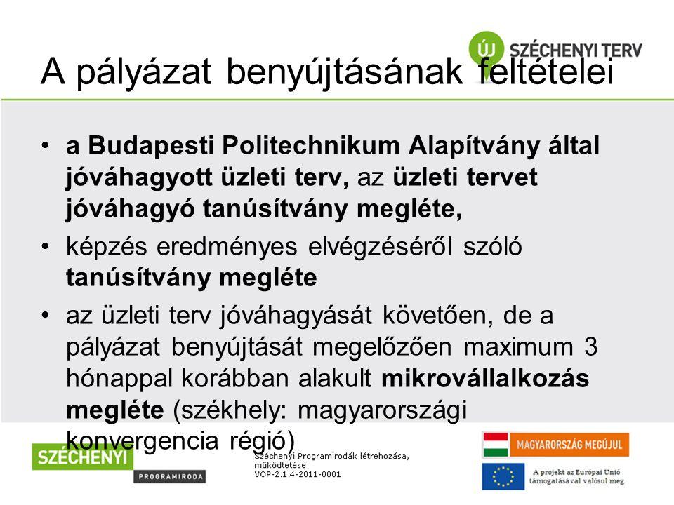 A pályázat benyújtásának feltételei a Budapesti Politechnikum Alapítvány által jóváhagyott üzleti terv, az üzleti tervet jóváhagyó tanúsítvány megléte