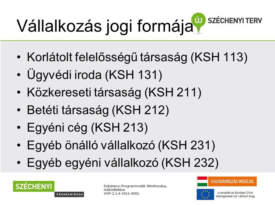 Vállalkozás jogi formája Korlátolt felelősségű társaság (KSH 113) Ügyvédi iroda (KSH 131) Közkereseti társaság (KSH 211) Betéti társaság (KSH 212) Egy