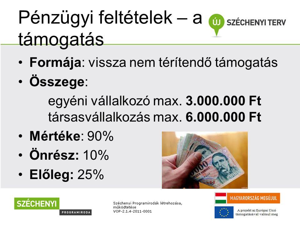 Pénzügyi feltételek – a támogatás Formája: vissza nem térítendő támogatás Összege: egyéni vállalkozó max. 3.000.000 Ft társasvállalkozás max. 6.000.00