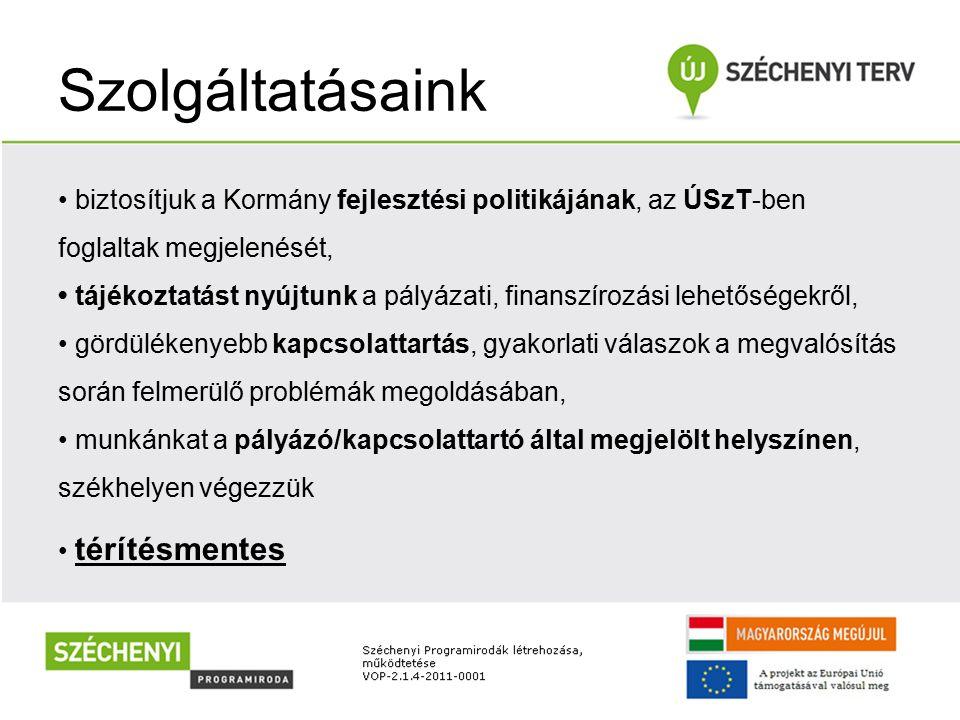 Szolgáltatásaink biztosítjuk a Kormány fejlesztési politikájának, az ÚSzT-ben foglaltak megjelenését, tájékoztatást nyújtunk a pályázati, finanszírozá