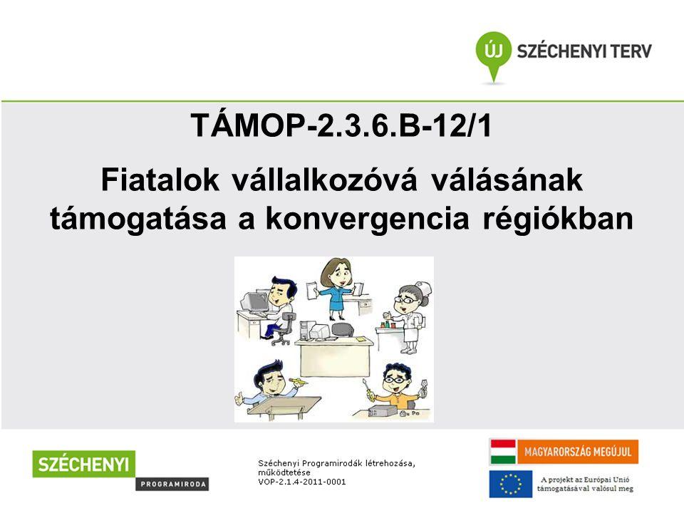 """""""A és """"B komponens TÁMOP-2.3.6.A-12/1 = """"a képzés TÁMOP-2.3.6.B-12/1 = """"a pályázat A """"Fiatalok vállalkozóvá válásának támogatása a konvergencia régiókban című pályázat két egymásra épülő része"""