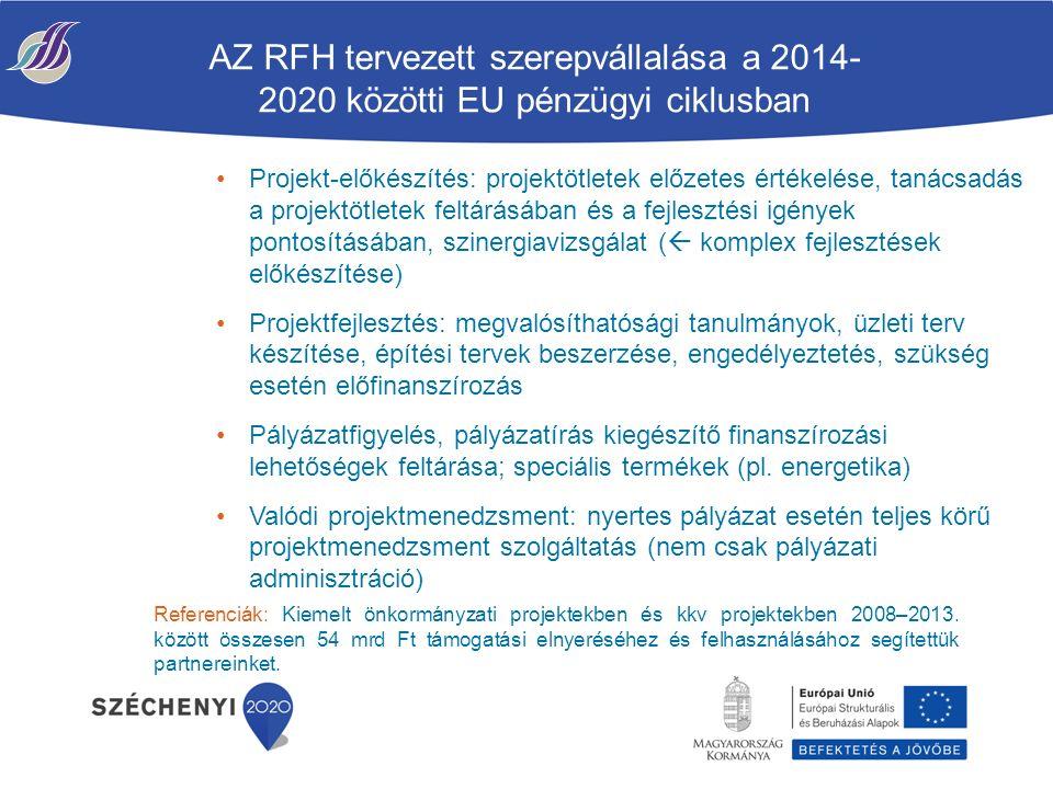 AZ RFH tervezett szerepvállalása a 2014- 2020 közötti EU pénzügyi ciklusban Projekt-előkészítés: projektötletek előzetes értékelése, tanácsadás a projektötletek feltárásában és a fejlesztési igények pontosításában, szinergiavizsgálat (  komplex fejlesztések előkészítése) Projektfejlesztés: megvalósíthatósági tanulmányok, üzleti terv készítése, építési tervek beszerzése, engedélyeztetés, szükség esetén előfinanszírozás Pályázatfigyelés, pályázatírás kiegészítő finanszírozási lehetőségek feltárása; speciális termékek (pl.